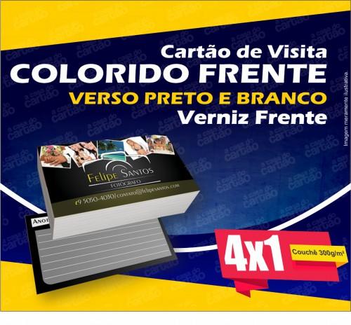 Cartão de Visita Comum - 90x50mm - Cor 4x1 - Couche 300g/m²