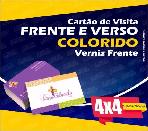 Cartão de Visita Comum - 90x50mm - Cor 4x4 - Couchê 300g/ m²